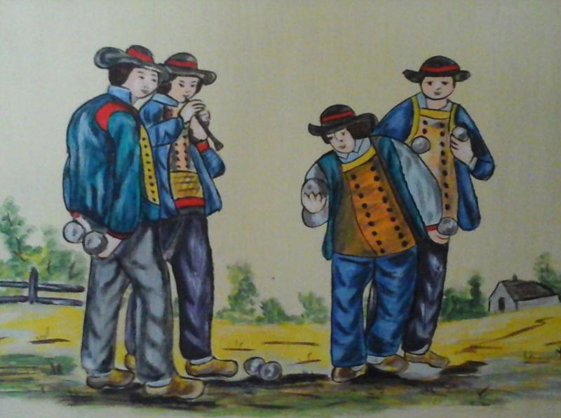 PeintureLesjoueursDeBoulesALacrylique
